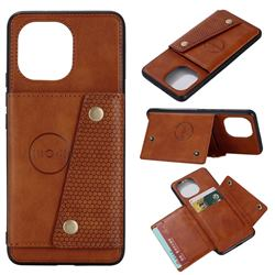 Retro Multifunction Card Slots Stand Leather Coated Phone Back Cover for Xiaomi Mi 11 - Brown