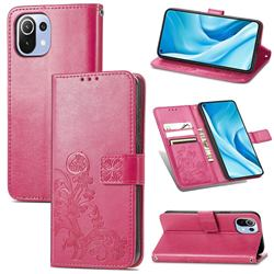 Embossing Imprint Four-Leaf Clover Leather Wallet Case for Xiaomi Mi 11 Lite - Rose Red