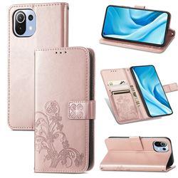 Embossing Imprint Four-Leaf Clover Leather Wallet Case for Xiaomi Mi 11 Lite - Rose Gold