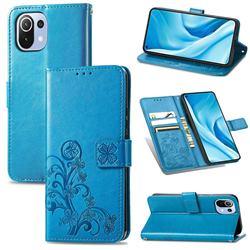 Embossing Imprint Four-Leaf Clover Leather Wallet Case for Xiaomi Mi 11 Lite - Blue