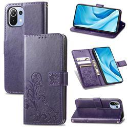 Embossing Imprint Four-Leaf Clover Leather Wallet Case for Xiaomi Mi 11 Lite - Purple