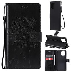 Embossing Butterfly Tree Leather Wallet Case for Xiaomi Mi 11 Lite - Black