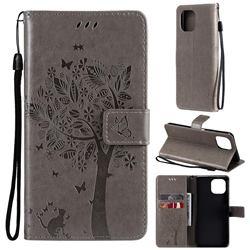 Embossing Butterfly Tree Leather Wallet Case for Xiaomi Mi 11 Lite - Grey