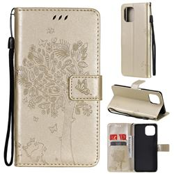 Embossing Butterfly Tree Leather Wallet Case for Xiaomi Mi 11 Lite - Champagne