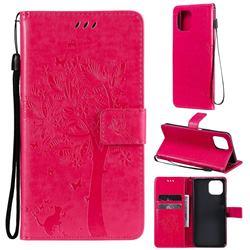 Embossing Butterfly Tree Leather Wallet Case for Xiaomi Mi 11 Lite - Rose