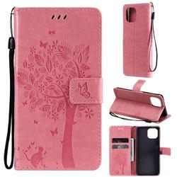 Embossing Butterfly Tree Leather Wallet Case for Xiaomi Mi 11 Lite - Pink