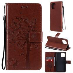 Embossing Butterfly Tree Leather Wallet Case for Xiaomi Mi 11 Lite - Coffee