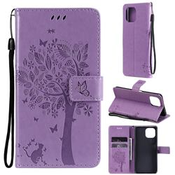 Embossing Butterfly Tree Leather Wallet Case for Xiaomi Mi 11 Lite - Violet