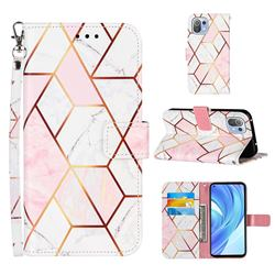 Pink White Stitching Color Marble Leather Wallet Case for Xiaomi Mi 11 Lite