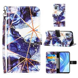 Starry Blue Stitching Color Marble Leather Wallet Case for Xiaomi Mi 11 Lite