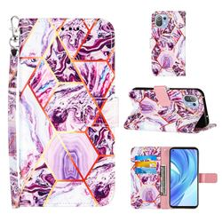 Dream Purple Stitching Color Marble Leather Wallet Case for Xiaomi Mi 11 Lite