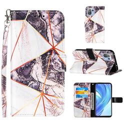 Black and White Stitching Color Marble Leather Wallet Case for Xiaomi Mi 11 Lite