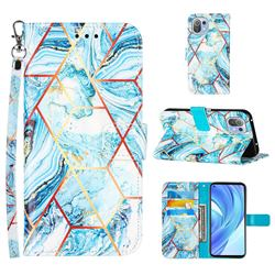 Lake Blue Stitching Color Marble Leather Wallet Case for Xiaomi Mi 11 Lite