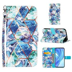 Green and Blue Stitching Color Marble Leather Wallet Case for Xiaomi Mi 11 Lite