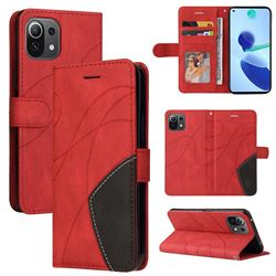 Luxury Two-color Stitching Leather Wallet Case Cover for Xiaomi Mi 11 Lite - Red