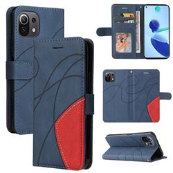 Luxury Two-color Stitching Leather Wallet Case Cover for Xiaomi Mi 11 Lite - Blue