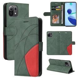 Luxury Two-color Stitching Leather Wallet Case Cover for Xiaomi Mi 11 Lite - Green