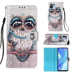 Sweet Gray Owl 3D Painted Leather Wallet Case for Xiaomi Mi 11 Lite