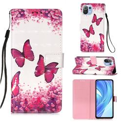 Rose Butterfly 3D Painted Leather Wallet Case for Xiaomi Mi 11 Lite