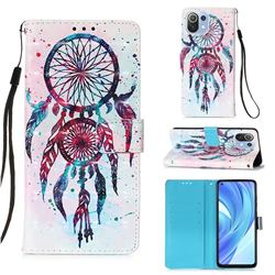 ColorDrops Wind Chimes 3D Painted Leather Wallet Case for Xiaomi Mi 11 Lite