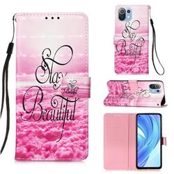 Beautiful 3D Painted Leather Wallet Case for Xiaomi Mi 11 Lite