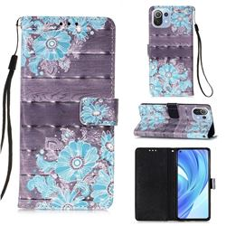Blue Flower 3D Painted Leather Wallet Case for Xiaomi Mi 11 Lite