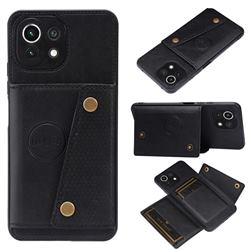 Retro Multifunction Card Slots Stand Leather Coated Phone Back Cover for Xiaomi Mi 11 Lite - Black