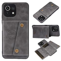 Retro Multifunction Card Slots Stand Leather Coated Phone Back Cover for Xiaomi Mi 11 Lite - Gray