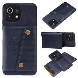 Retro Multifunction Card Slots Stand Leather Coated Phone Back Cover for Xiaomi Mi 11 Lite - Blue