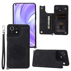 Luxury Mandala Multi-function Magnetic Card Slots Stand Leather Back Cover for Xiaomi Mi 11 Lite - Black