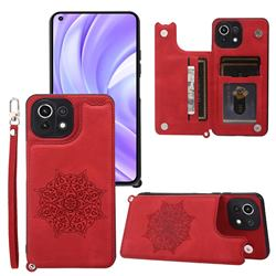 Luxury Mandala Multi-function Magnetic Card Slots Stand Leather Back Cover for Xiaomi Mi 11 Lite - Red
