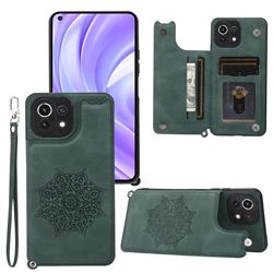 Luxury Mandala Multi-function Magnetic Card Slots Stand Leather Back Cover for Xiaomi Mi 11 Lite - Green