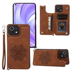 Luxury Mandala Multi-function Magnetic Card Slots Stand Leather Back Cover for Xiaomi Mi 11 Lite - Brown