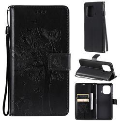 Embossing Butterfly Tree Leather Wallet Case for Xiaomi Mi 11 Pro - Black