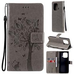 Embossing Butterfly Tree Leather Wallet Case for Xiaomi Mi 11 Pro - Grey