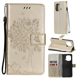 Embossing Butterfly Tree Leather Wallet Case for Xiaomi Mi 11 Pro - Champagne