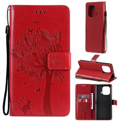 Embossing Butterfly Tree Leather Wallet Case for Xiaomi Mi 11 Pro - Red