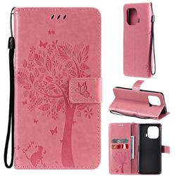 Embossing Butterfly Tree Leather Wallet Case for Xiaomi Mi 11 Pro - Pink