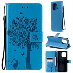 Embossing Butterfly Tree Leather Wallet Case for Xiaomi Mi 11 Pro - Blue