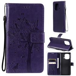 Embossing Butterfly Tree Leather Wallet Case for Xiaomi Mi 11 Pro - Purple