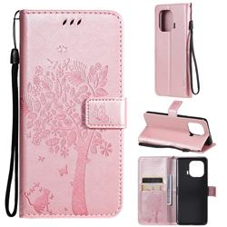 Embossing Butterfly Tree Leather Wallet Case for Xiaomi Mi 11 Pro - Rose Pink