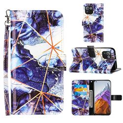 Starry Blue Stitching Color Marble Leather Wallet Case for Xiaomi Mi 11 Pro
