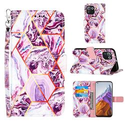Dream Purple Stitching Color Marble Leather Wallet Case for Xiaomi Mi 11 Pro