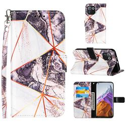 Black and White Stitching Color Marble Leather Wallet Case for Xiaomi Mi 11 Pro
