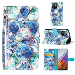 Green and Blue Stitching Color Marble Leather Wallet Case for Xiaomi Mi 11 Pro
