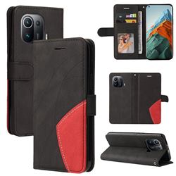 Luxury Two-color Stitching Leather Wallet Case Cover for Xiaomi Mi 11 Pro - Black
