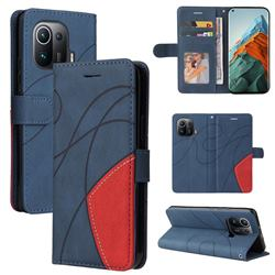 Luxury Two-color Stitching Leather Wallet Case Cover for Xiaomi Mi 11 Pro - Blue