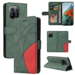Luxury Two-color Stitching Leather Wallet Case Cover for Xiaomi Mi 11 Pro - Green