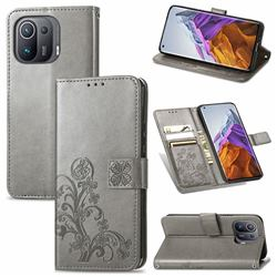 Embossing Imprint Four-Leaf Clover Leather Wallet Case for Xiaomi Mi 11 Pro - Grey