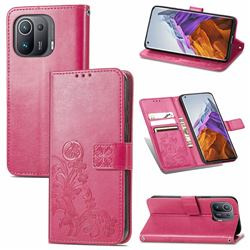 Embossing Imprint Four-Leaf Clover Leather Wallet Case for Xiaomi Mi 11 Pro - Rose Red